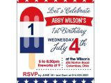 Patriotic First Birthday Invitations Patriotic Popsicle 1st Birthday Party Invitations