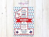 Patriotic First Birthday Invitations Printable July 4th First Birthday Invitation Red White