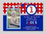 Patriotic First Birthday Invitations Red White and Blue Firecracker Birthday Invitation Boys or