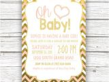 Peach and Gold Baby Shower Invitations Oh Baby Peach and Gold Foil Chevron Baby Shower Invitation