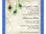 Peacock Quinceanera Invitations Peacock Feathers Blue Damask Quinceanera Party Custom Invites