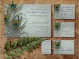 Peacock Wedding Invitation Sets Vintage Peacock Feather Wedding Invitation Set Suite