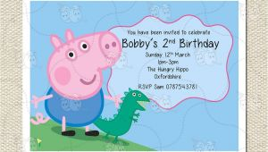 Peppa Pig George Party Invitations Personalised George and Dinosaur Peppa Pig Party Birthday