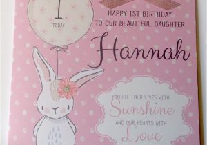 Personalised 1st Birthday Cards for Granddaughter Personalised Bunny 1st Birthday Card Daughter