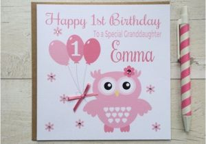 Personalised 1st Birthday Cards for Granddaughter Personalised Owl Birthday Card Granddaughter Daughter