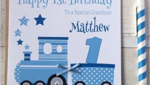 Personalised 1st Birthday Cards for Grandson Handmade Personalised Blue Train 1st Birthday Card