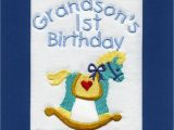 Personalised 1st Birthday Cards for Grandson Handmade Personalised Embroidered Grandson 1st Birthday