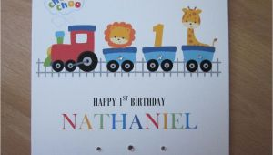 Personalised 1st Birthday Cards for son Personalised Handmade Boys Train 1st First Birthday Card