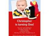 Personalised 1st Birthday Invitations Boy Little Firefighter Boy First Birthday Party 5×7