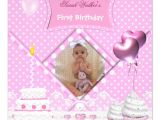 Personalised 1st Birthday Invitations Uk First Birthday 1st Girl Spot Pink Cupcake Cake 13 Cm X 13