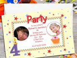 Personalised Birthday Invites Free 10 Personalised Twins Joint Birthday Party Photo