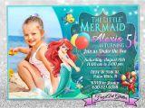 Personalized Ariel Birthday Invitations Little Mermaid Ariel Birthday Invitation Card Invite