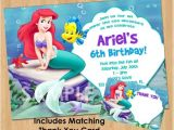Personalized Ariel Birthday Invitations Little Mermaid Invitation Thank You Note Printable