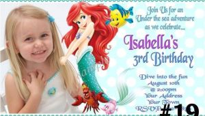Personalized Ariel Birthday Invitations the Little Mermaid Princess Ariel Custom Photo Birthday