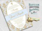 Personalized Baptism Invitations In Spanish Elegant Spanish Baptism Invitations Blue and Gold Baby Boy