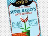 Personalized Super Mario Birthday Invitations Custom Birthday Party Invite Mario Invitation Mustache