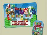 Personalized Super Mario Birthday Invitations Personalized Super Mario Birthday Party Invitation and Thank