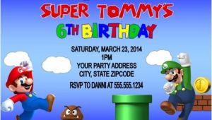 Personalized Super Mario Birthday Invitations Super Mario & Luigi Birthday Party Invitations