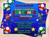 Personalized Super Mario Birthday Invitations Super Mario Bros Birthday Party Invitation Custom Made