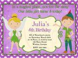 Peter Pan Birthday Invitation Wording Peter Pan and Tinkerbell Inspired Birthday Invitation Digital
