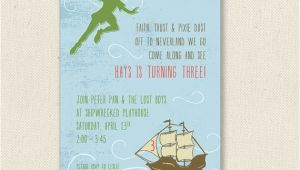 Peter Pan Birthday Invitation Wording Peter Pan Invitations Printable or Printed by