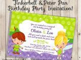 Peter Pan Birthday Invitation Wording Tinkerbell Peter Pan Birthday Party Invitation Design