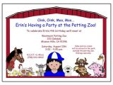 Petting Zoo themed Birthday Party Invitations Barnyard or Petting Zoo Birthday Party Invitation Girl