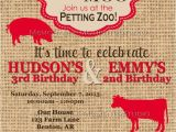 Petting Zoo themed Birthday Party Invitations Printable Invitations Vintage Petting Zoo or Farm Party