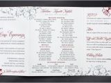 Philippine Wedding Invitation Red Gray ornate Scrollwork Tri Panel Belly Band Wedding