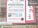 Picnic Bridal Shower Invitations French Picnic Invitation Instant Download Editable