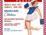 Pin Up Girl Bachelorette Party Invitations Nautical Vintage Pin Up Girl Invitation Bachelorette