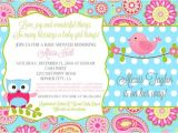 Pink and Aqua Baby Shower Invitations Baby Shower Invitation Owl Bird Pink Aqua Paisley Bird