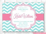 Pink and Aqua Baby Shower Invitations Baby Shower Invitation Pink & Aqua Chevron Diy