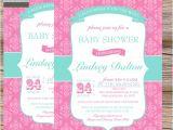Pink and Aqua Baby Shower Invitations Girls Baby Shower Invitations Damask Pink Aqua by Paperclever