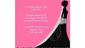 "Pink and Black Bridal Shower Invitations Bridal Shower Invitations In Hot Pink and Black 5"" X 7"