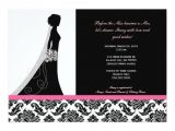 Pink and Black Bridal Shower Invitations Bridal Shower Invitations In Pink and Black Damask