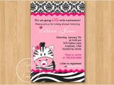 Pink and Black Zebra Baby Shower Invitations Hot Pink Zebra Baby Shower Invitation Diy Custom Printable