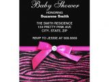 Pink and Black Zebra Baby Shower Invitations Hot Pink Zebra Print Girl Baby Shower Invitations