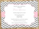 Pink and Gray Bridal Shower Invitations Bridal Shower Invitations Pink Gray White Chevron