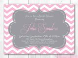 Pink and Gray Bridal Shower Invitations Chevron Bridal Shower Invitation Pink & Gray Chevron