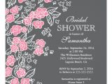 Pink and Gray Bridal Shower Invitations Pretty Flowers Modern Pink & Gray Bridal Shower Invitation