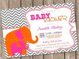 Pink and orange Baby Shower Invitations Elephant Baby Shower Invitation Hot Pink orange Chevron