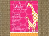 Pink and orange Baby Shower Invitations Items Similar to Giraffe Baby Shower Invitation Pink and
