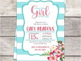 Pink and Teal Baby Shower Invitations Baby Girl Baby Shower Invitation In Pink Coral Floral
