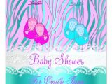 Pink and Teal Baby Shower Invitations Baby Shower Zebra Pink Teal Blue Baby Girl Boy