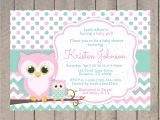 Pink and Teal Baby Shower Invitations Owl Baby Shower Invitation Pink Teal and Grey White and