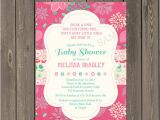 Pink and Teal Baby Shower Invitations Pink and Teal Baby Shower Invitation Baby Girl Shower