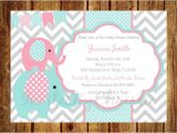 Pink and Teal Baby Shower Invitations Pink Teal and Gray Elephant Baby Shower Invitation Digital