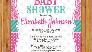 Pink and Teal Baby Shower Invitations Pink Teal Baby Shower Invitation Damask Polka Dots Invite Pink