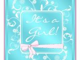 "Pink and Teal Baby Shower Invitations Pink Teal White Baby Girl Shower Invitations 5 25"" Square"
